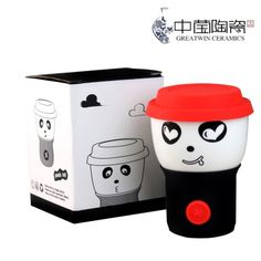 Genuine silicone lid mug ceramic cup creative cup lovers cup variety of anti-hot button