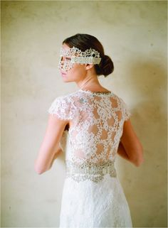 simple lace wedding dress with a lace see through back