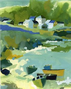 Buy art online- Sennen Cove- signed limited edition silkscreen print by contemporary artist Richard Tuff from CCA Galleries. Landscape Art, Landscape Paintings, Landscape Prints, Watercolor Landscape, Boat Art, Paintings I Love, Indian Paintings, Naive Art, Drawing