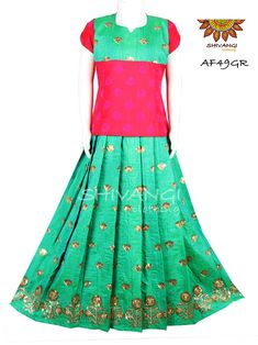 Mulberry skirt with Mughal floral embroidery work for border and all over small bhuttas paired with semi silk self bhutta with yoke pattern. Blouse Back Neck Designs, Floral Embroidery, Lehenga, Short Sleeve Dresses, Silk, Skirts, Pattern, Stuff To Buy, Fashion