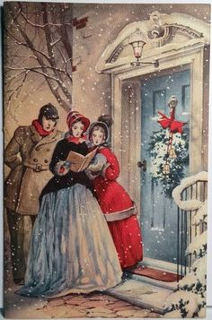 Old Christmas Postcard. Reminds me of Little Women. Vintage Christmas Images, Old Fashioned Christmas, Christmas Scenes, Christmas Past, Victorian Christmas, Retro Christmas, Vintage Holiday, Christmas Pictures, Christmas Greetings