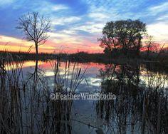 Michigan Lake Saint Clair Sunset Photo   Dusk Dawn Nature Wall Art   Landscape Horizon Sun Rise   Marsh Water Reflection Decor   Swamp Print by FeatherWindStudio on Etsy