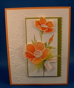 handmade greeting card ... luv the orange coloring of the flowers ... embossing folder texture ... cut out and popped flowers ... lovely card ... Stampin' Up!