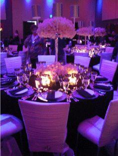 Purple Wedding Reception, love the purple lighting! Dark Purple Wedding, Red Wedding, Wedding Table, Perfect Wedding, Wedding Ceremony, Purple Party, Wedding Receptions, Deep Purple, Elegant Wedding
