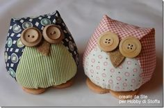 This blog is in Italian, but the pictures for this great tutorial are easy to follow. These little stuffed owls are so cute! I think they would make the cutest little pin cushions or even book ends if you add some weight when stuffing these cuties! The possibilities are endless with thousands of fabrics to choose from at the Fabric Shack at http://www.fabricshack.com/cgi-bin/Store/store.cgi