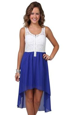 Deb Shops #royal #blue high low #dress with lace bodice and color chiffon skirt $26.17