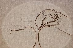 Vintage French Floral Embroidery Shabby Chic Linen Crackle