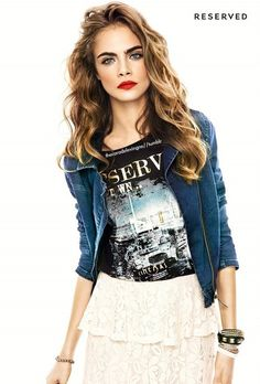 love the outfit - lace skirt, tee, jacket, red lips and eyes.