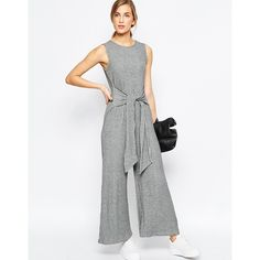 3fd08716c87 ASOS Jumpsuit in Rib with Tie Waist and Wide Leg (£42) ❤ liked