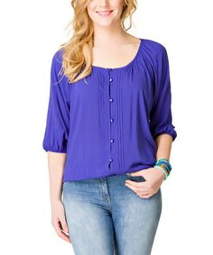 Look what I found on #zulily! Astra Blue Sheana Button-Up Top by Yest #zulilyfinds
