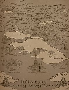 Map of Killarney for Saving Tir na nOg, Book One in The Chosen Ones by Kimberly S. Map by Brian Garabrant Irish Mythology, The Chosen One, Vintage World Maps, This Book, Paintings, River, Ink, Island, Books