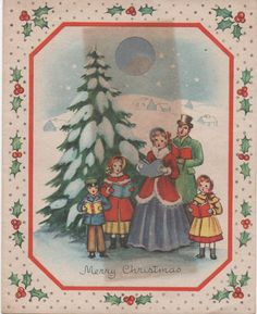Used Christmas Card c1950s discolored by blue colored