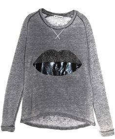 Liv Bergen Burned Sweater Marylou LIPS darkgrey