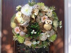 Birdsnest and Owl Spring/Summer Wreath by HertasWreaths on Etsy