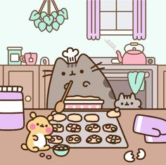 Check out this awesome collection of Cute Pusheen wallpapers, with 56 Cute Pusheen wallpaper pictures for your desktop, phone or tablet. Nyan Cat, Gif Pusheen, Pusheen Love, Chat Kawaii, Kawaii Cat, Kawaii Shop, Cute Kawaii Drawings, Cute Animal Drawings, Arte Copic