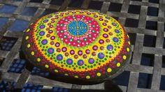 hand painted mandala stone meditation gratitude by RockYourWorld7