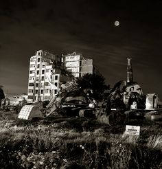 https://flic.kr/p/FwGKAq | Dublin by Night | Ballymun the last tower being demolished, I included the demolition machinery in this one, the moon is an in camera double exposure. Film was Neopan Acros 100 on theHassie with60mm lens.