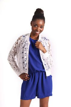 LACE BOMBER R 365.00 - Sheer lace material - Stretch cuffs and hem - Zip through fastening - Cropped length