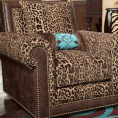 Leopard. Leather. Turquoise. Chair. Studs. Pillow. Perfect.