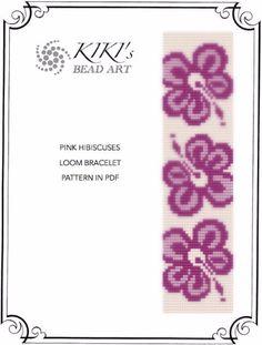 Bead loom pattern Pink hibiscuses colourful LOOM by KikisBeadArts