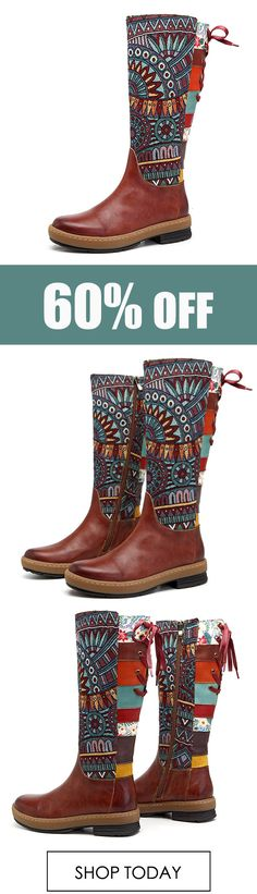 SOCOFY Embroidery Splicing Pattern Flat Leather Knee Boots. #shoes #leather #fashion