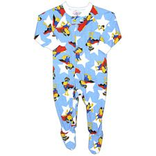 He's sure to have fun dreams with his superdog friend in these cute footed pajamas from Sara's Prints. 55% cotton, 45% modacrylic. .  .     light blue long-sleeved footed pajamas .     superdog print .     snap closure at collar .     zipper down front .  . At Sara's Prints we believe in offering only the best sleepwear for your child. Our experts select the finest quality cotton and blend it in a proprietary weaving process that ensures natural flame resistance with out the use of any flame…