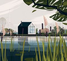 Cabins, illustrations de cabanes minimalistes et écologiques - Grafik Milk