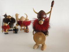 Vintage Teak Viking Figurine  Wood Viking  by EightMileVintage