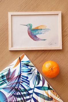 Hummingbird. Colors. Danish inspiration. Watercolors on paper.