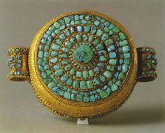 Tibetan Gau Amulet Box; Gold and Turquoise, Tibet