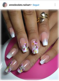 Uñas Rose Nail Art, Rose Nails, New Nail Art, Flower Nails, Pink Nails, Colorful Nail Designs, Gel Nail Designs, Finger Nail Art, Wedding Nails Design