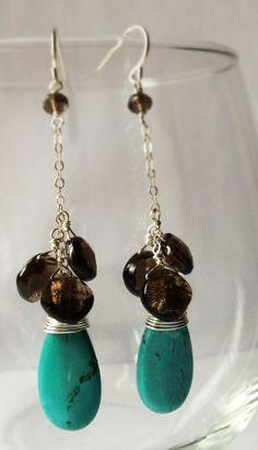 Turquoise Teardrop Faceted Smoky Quartz Sterling Silver Earrings by Belle Bijou Atelier