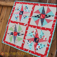 Wind Sail Mini Quilt - My Fabric Relish for Mini Quilt Mania - FWFS