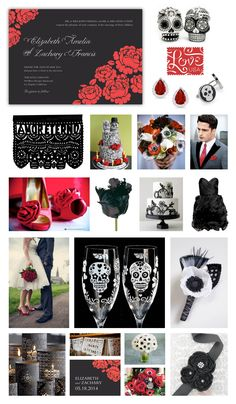 """Day of the Dead"" Wedding Inspiration -- Black, Red & White Wedding -- Red Roses -- Skulls -- Red & Black Wedding Invitation and Wedding Favor Tag designed by Lauren DiColli Hooke for KleinfeldPaper.com"