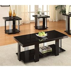 Furniture of America Haven 3 Piece Coffee Table Set in Black