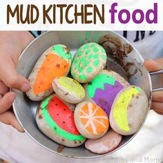 Make pretend food for your kids mud kitchen using stones. Such a brilliantly simple idea to combine with mud pies!