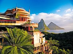 """It's not hard to see why people describe the Jade Mountain hotel in St. Lucia as """"jaw-droppingly beautiful"""". Conde Nast Traveler Gold List, 2013."""