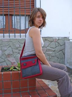 Love this leather and crocheted messenger bag!