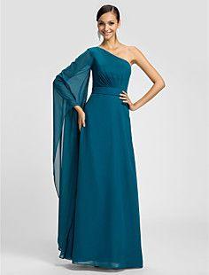 bainha / coluna de um ombro até o chão vestido de dama de honra chiffon (605.497)