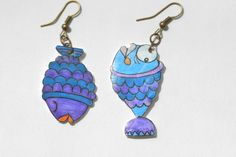 #Orecchini #pesce in polyshrink.   #Fish #earrings in PolyShrink di #LabLiu su #Etsy