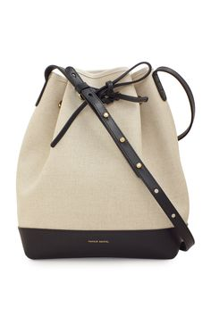 Mansur Gavriel Bucket Cream/Black Canvas Bag LaPrendo