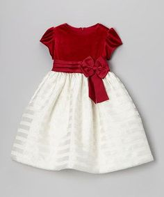 Loving this Jayne Copeland Red Velvet & Ivory Stripe Dress - Toddler & Girls on Frock Patterns, Baby Dress Patterns, Baby Frocks Designs, Kids Frocks Design, Frocks For Girls, Toddler Girl Dresses, Toddler Girls, Vestidos Color Rojo, Frock Design