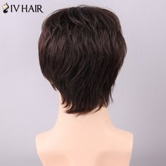 Stupendous Shaggy Natural Straight Siv Hair Capless Fashion Short Side Bang Hairstyle Inspiration Daily Dogsangcom