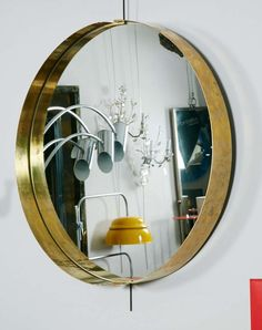 Pair of Round Mirrors in Brass, Italy, 1980 image 2 Round Mirrors, Circle Mirrors, Glitter Bedroom, Navy Bathroom Decor, Brass Mirror, Glam And Glitter, Glitter Background, Apartment Living, Bedroom Wall