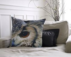 {owl cushion} I would love to have this in my living room. Owl Cushion, Cushion Pillow, Owl Pillow, Pillow Talk, Luxury Home Furniture, Owl Always Love You, Owl Print, Pine Forest, Decorative Pillow Covers