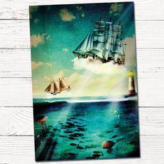 Sprookjesachtig geboortekaartje illustratie zee met bootjes door HierBenIk.be  | origineel | retro | vintage | boot | vuurtoren