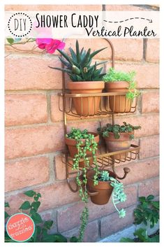 How to use a bathroom shower caddy into a garden caddy vertical planter. Perfect for small spaces, urban gardens and outdoor wall gardening.