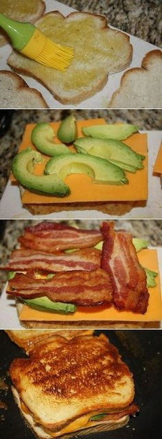 Bacon Avocado Grilled Cheese on sour dough bread, yum! Hmmm maybe with Turkey bacon and ww grilled cheese? Looks yummy Grilled Cheese Avocado, Bacon Avocado, Grilled Cheese Recipes, Fresh Avocado, Best Grilled Cheese, Avocado Toast, Think Food, I Love Food, Good Food