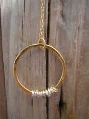 Brass Hammered Silver Wrapped Hoop Necklace @Charmedbyingridanne.com