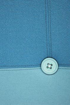 Sumo poof, blue, button, fabric, textile, felt, detail